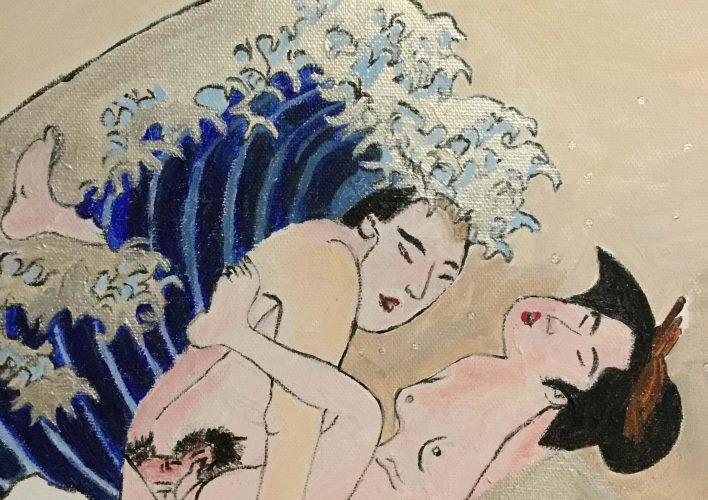 la gran ola Kanawaga-pareja porno
