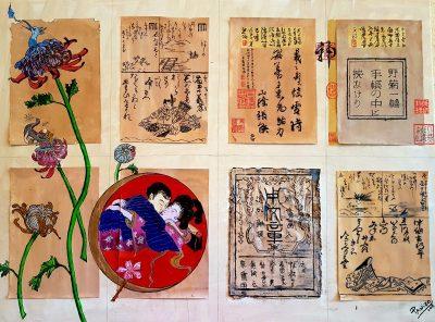 Lienzo haiku - Crisantemos salvajes